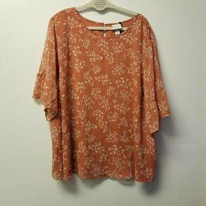 Ava and Liv 3X Top Shirt Blouse Floral Tunic